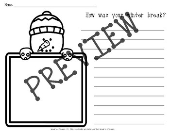 After Winter Break Writing Prompt