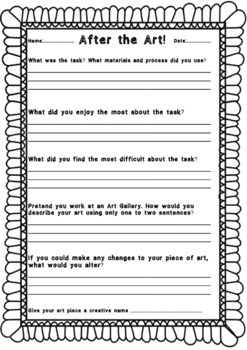 After the Art! Reflection Graphic Organizer -  Printable