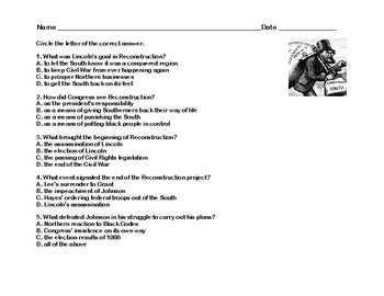 After the Civil War-Reconstruction- Read and Write The Room Scavenger Hunt