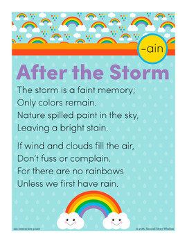 After the Storm - ain Word Family Poem of the Week