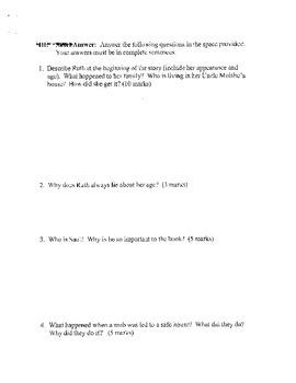 After the War - Novel Study Exam