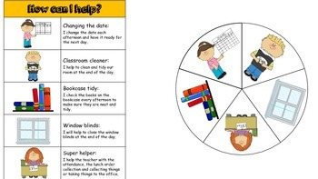 Afternoon Classroom Jobs (spinner chart)