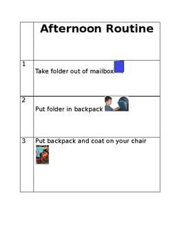 Afternoon Routine Visual Schedule