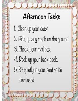 Afternoon Tasks Poster