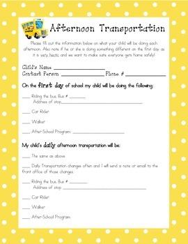 Afternoon Transportation Form