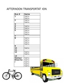 Afternoon Transportation Sheet