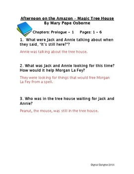 Afternoon on the Amazon Reading Comprehension Questions
