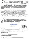 Afterschool Teacher Tutoring/Homework Club Permission Slip