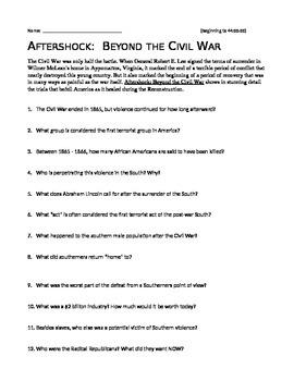 Aftershock beyond the civil war worksheet answers