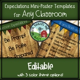 Classroom Expectations Mini Poster EDITABLE Template