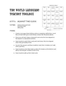 Against the Clock Verb Conjugation Game