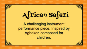 Agbekor African Safari: An Elementary Instrumental Piece of West Africa