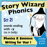 Age 4–6 Phonics & Sentences | Set 21: words ending with -y (as in belly)