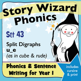 Age 4–6 Phonics & Sentences | Set 43: split digraphs u_e (as in cube & rude)