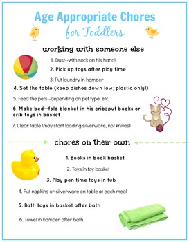 Age Appropriate Printable Chore Posters