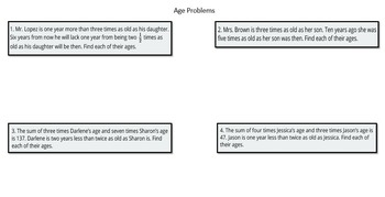 Age Problems (Systems of Linear Equations with Graphic Organizers)