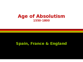 Age of Absolutism - Spain, France & England