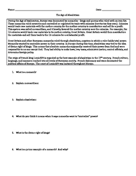 Age of Absolutism - Worksheet