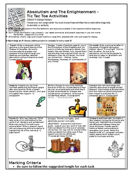 Age of Absolutism and Enlightenment Tic Tac Toe Project activity