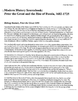 Age of Absolutism in Russia: Peter the Great Primary Readings and questions