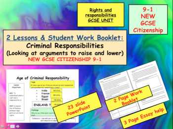 Age of Criminal Responsibility GCSE CITIZENSHIP 9-1