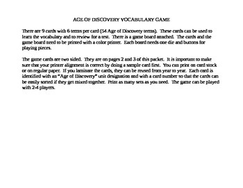 Age of Discovery - Explorers Vocabulary Game