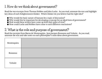 Age of Enlightenment Inquiry Activity