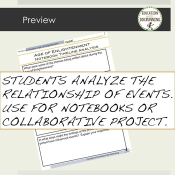 Age of Enlightenment Interactive Notebook Timeline Activity