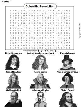 scientific revolution worksheet word search by science spot tpt. Black Bedroom Furniture Sets. Home Design Ideas