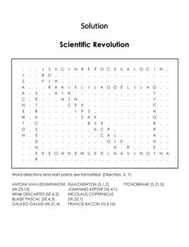 Scientific Revolution Worksheet/ Word Search