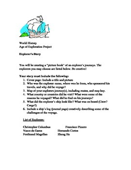 Age of Exploration Assignment Worksheet Project Explorer's Story