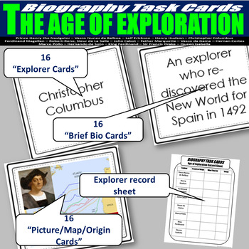 Age of Exploration Biography Task Cards