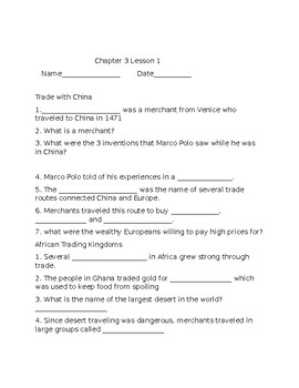 Age of Exploration Ch.3 Lesson 1 Study Guide