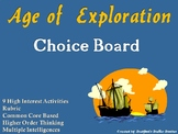 Age of Exploration Choice Board Social Studies Activity Menu Project Rubric