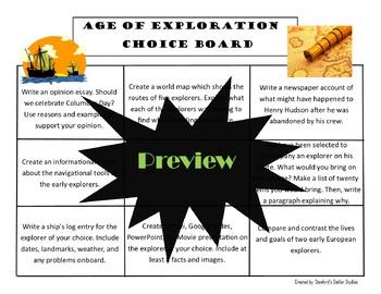 Age of Exploration Choice Board Social Studies Activity Menu Project Rubric