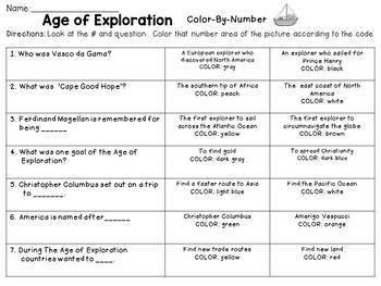 Age of Exploration Color-By-Number