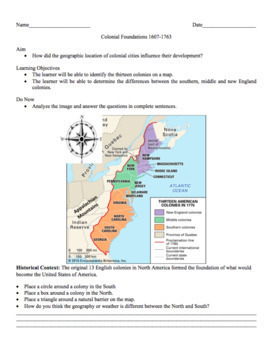 13 Colonies Geography Worksheet: Common Core Learning Standards (CCLS)
