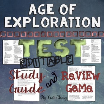 Age of Exploration Editable test, Study Guide, and Review