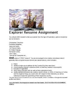 Age of Exploration: Explorer Resume Assignment