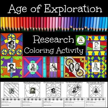 Age of Exploration Famous Explorers Research and Coloring Activity