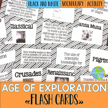 Age of Exploration Flash Cards - Black and White Papers