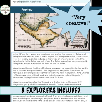 Age of Exploration Gallery Walk Activity of the Explorers for secondary