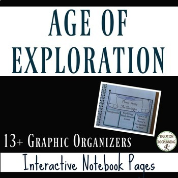 Age of Exploration Interactive Notebook Graphic Organizers on Age of Discovery