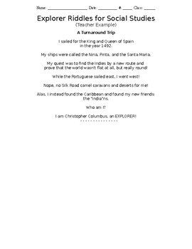 Age of Exploration Riddle Poem Outline Example Template