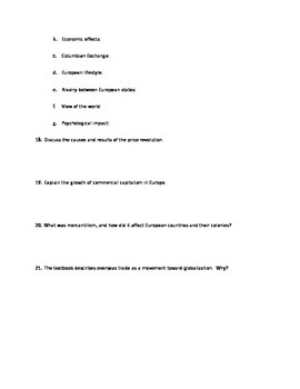 Age of Exploration Study Guide