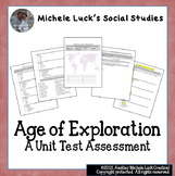 Age of Exploration Unit Test Assessment - Multiple Choice,