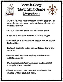 Age of Exploration Vocabulary Matching Game