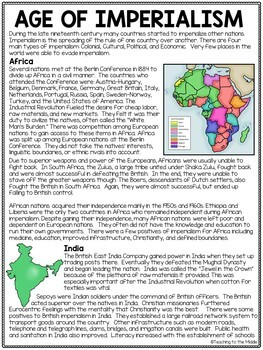 Age of Imperialism Articles, Chart, Overview, Africa, Asia, United States