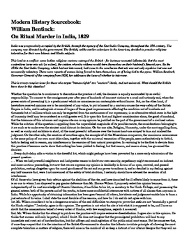 Age of Imperialism: Reading for info. On Britain Ritual Murder in India, 1829