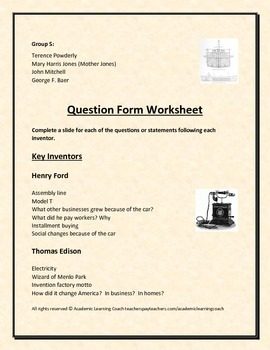 Age of Invention Movie Maker Small Group Presentation Worksheets